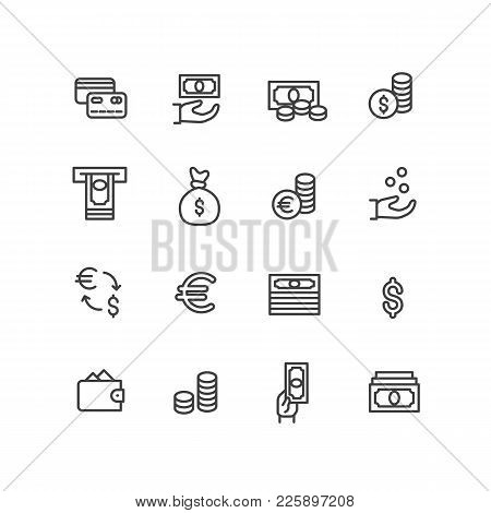 Set Vector Icons Credit Bank Cards, Cash In Hand And Coins In Bag. Vector Line Icons Atm, Exchange A