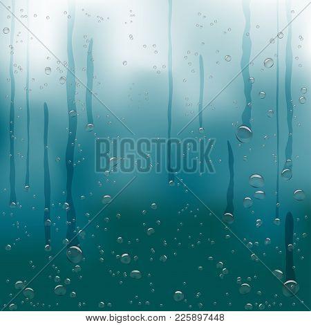 Rain Water Drops Flow Down On Dark Blue Background. Beautiful Fresh Aqua Bubble Shape Natural Drople