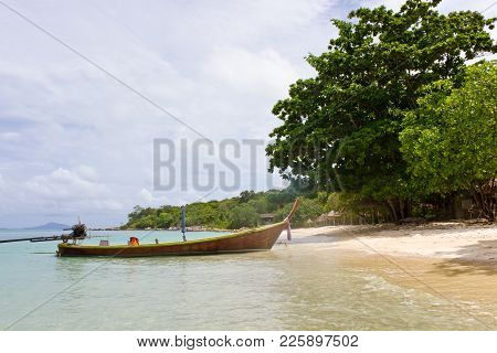 Beautiful Tropical Beach With No People. Classic Thai Longtail Boat. Paradise Beach On Island In And