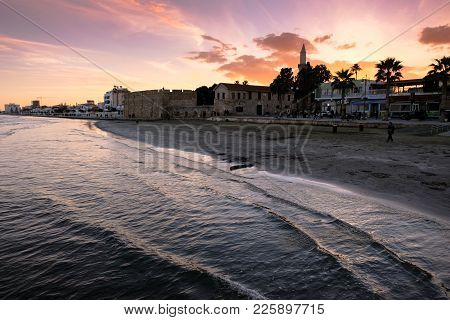 Larnaca, Cyprus - January 2 2018: People By The Waterfront In The City Center Of Larnaca In Sunset L