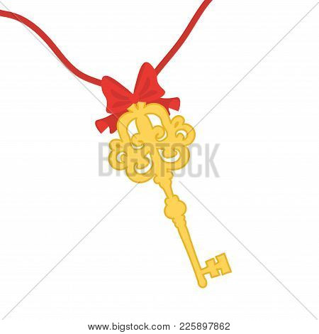 A Vintage Gold Key Is Tied With A Red Ribbon With A Bow.
