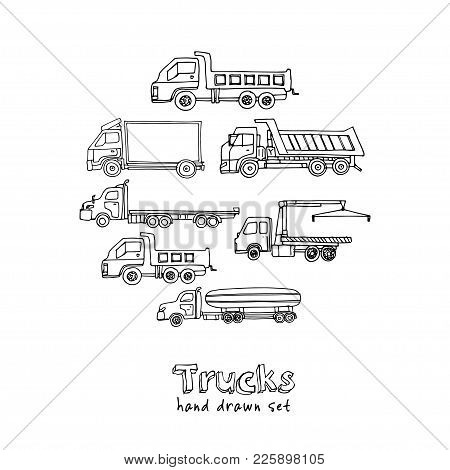 Hand Drawn Doodle Truck Set. Vector Illustration. Isolated Elements On White Background. Symbol Coll