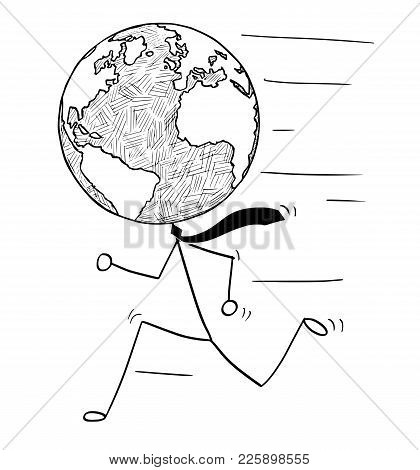 Cartoon Stick Man Drawing Conceptual Illustration Of Running Businessman With Earth World Globe As H