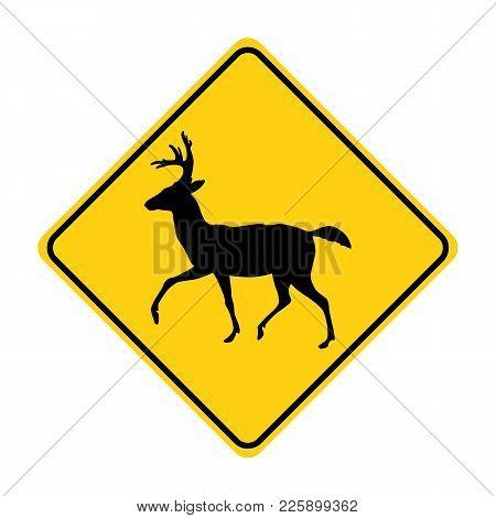 Deer Silhouette Animal Traffic Sign Yellow  Vector Illustration