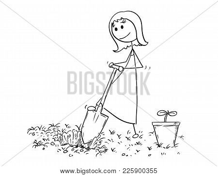 Cartoon Stick Man Drawing Illustration Of Gardener On Garden Digging A Hole For Plant With Shovel Or