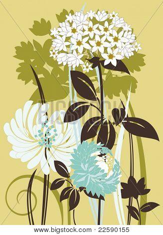 Floral composition. Raster version of vector illustration.