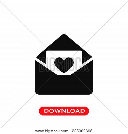 Love Letter Icon Vector In Modern Flat Style For Web, Graphic And Mobile Design. Love Letter Icon Ve