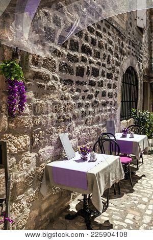 Street Cafe, Tables, Trogir Old Town, Croatia