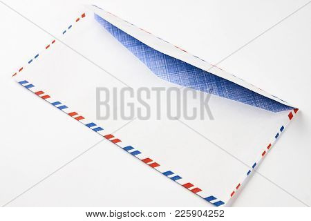 Striped Post Envelope. Postal Blank Envelope With Striped Frame. Simple Blank White Envelope With Cl