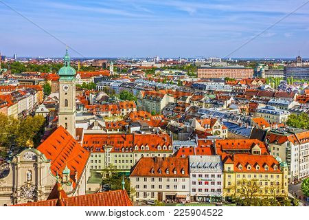 Munich Cityscape, Bavaria, Germany. Old Town Panorama, Architecture Town Houses