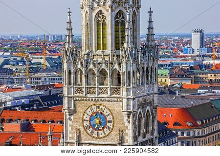 Munich Clock Tower. Town Hall Building, Germany, Marienplatz