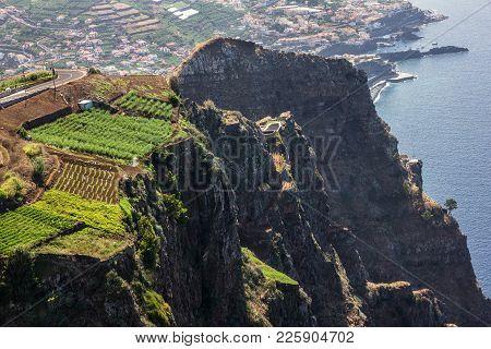 Madeira Island Portugal. Landscape Cabo Girao Atlantic Ocean And Funchal. Cabo Girao Sea Cliff