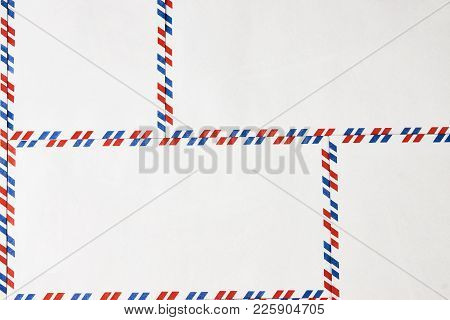Postal Blank Envelopes With Striped Frame. Striped Post Envelopes. Simple Blank White Envelope Isola