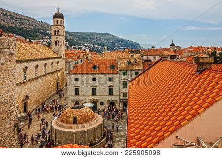 Dubrovnik, Croatia - Sep 7, 2017: Dubrovnik, Croatia. Street Stradun, Tourists, Church Of St. Saviou