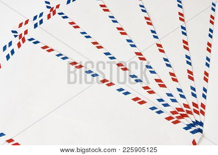 Classic Post Envelopes. Postal Blank Envelopes With Striped Frame. Simple Blank White Envelope Isola