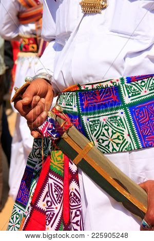 Close Up Of Hands Holding Sword During Mr Desert Competition, Jaisalmer, Rajasthan, India