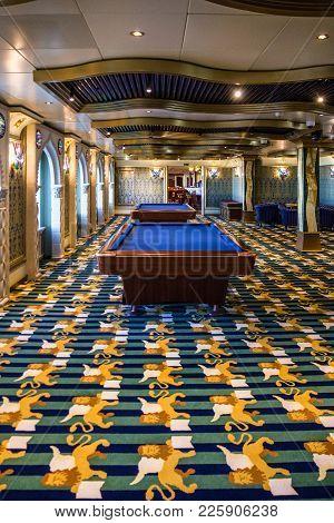 Cruise Liner Costa Mediterranea - Feb 13, 2018: Billiard Table In Billiard Room Of Gambling Casino,