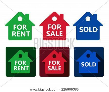 Set Of Real Estate House Icon Red Green And Blue Houses With Text For Rent Sold For Sale In Simple F