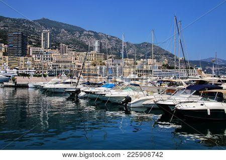 Boats Docked At Port Hercules In La Condamine Ward Of Monaco. Port Hercules Is The Only Deep-water P