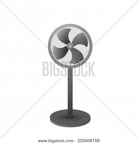 Standing Electric Fan Vector Illustration. Ventilator On The Floor.