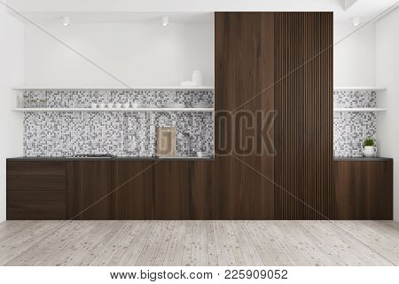 Tiled And Wooden Kitchen Interior With A Wooden Floor, Dark Wooden Countertops, And A Cupboard. 3d R