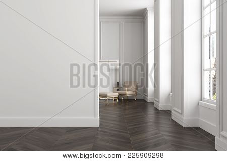 White Living Room Lobby With A Wooden Floor, Large Windows, And A Beige Armchair Standing Near A Mir
