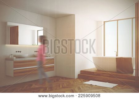 White Bathroom Corner With A Wooden Floor, A White Tub, And A Double Sink. A Panoramic Window. 3d Re