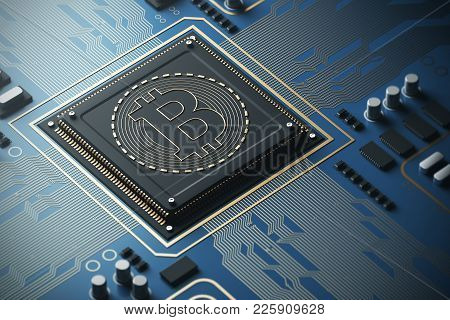 Blue Circuit Board With A Processor On It. Concept Of Modern Technologies And Information. A Bitcoin