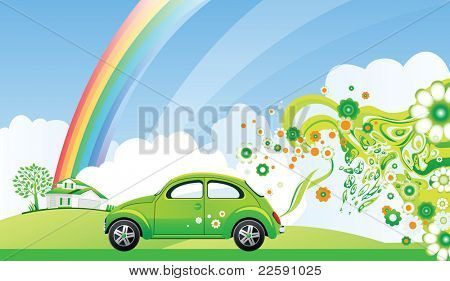 Environmental car. Raster version of vector illustration.