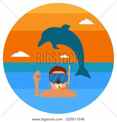 Underwater Sportsman With Mask And Flippers. Scuba Diver Man In Round Diving Suit Icon. Summer Divin