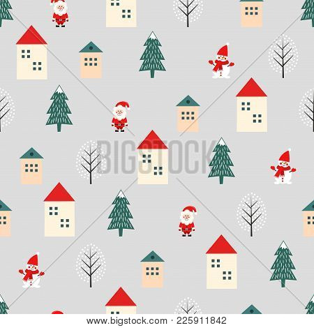 Xmas Tree, Santa Claus, Houses And Snowman Cute Seamless Pattern On Grey Background. Vector Holidays