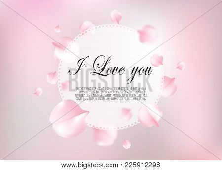 Abstract Background With Flying Pink Petals. Vector Background.