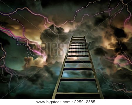 Surreal painting. Stairway to Heaven. Clouds and lightnings. 3D rendering