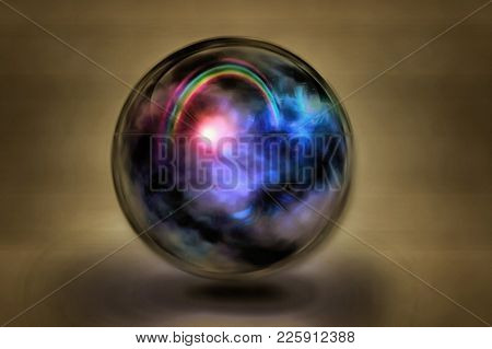 Surreal painting. Rainbow, sun and clouds inside crystal ball. 3D rendering