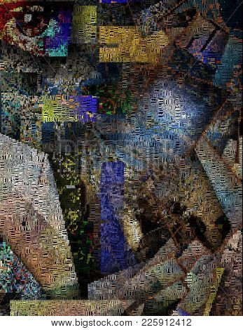 Complex surreal painting. Eye,galaxy, geometric elements. Image composed entirely of words. 3D rendering