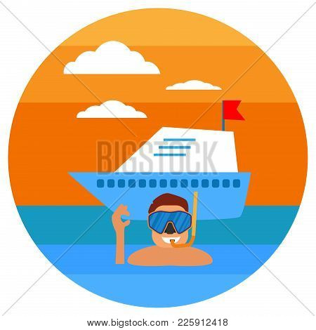 Diving In Tropical Sea. Beach Vacation, Diving Mask, Snorkel, Yachting. Tropical Sunset. Summer Conc