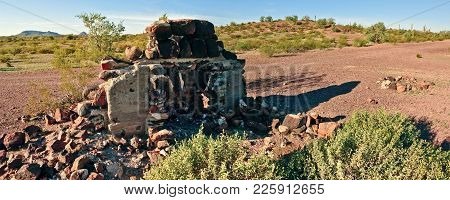 An Old Fire Place Hearth Sitting Alone In The Arizona Desert In The Gila Bend Mountains. It Could Be