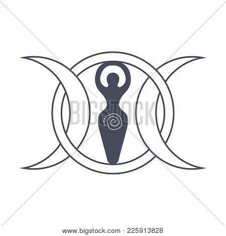 Vector Illustration For Wiccan Community: Spiral Goddess Also Known As Luna Or Tripple Goddess Symbo