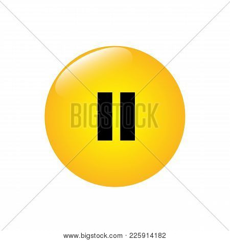 A Round Jaunty Button With A Pause Mark. Vector Illustration