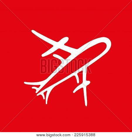 Icon Of White Realistic Airplane On Red Background Vector Illustration. Airport Icon, Airplane Shape