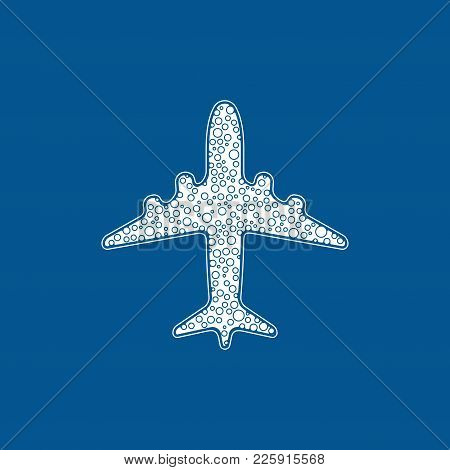 Icon Of White Bubble Airplane On Blue Background Vector Illustration. Airport Icon, Airplane Shape.
