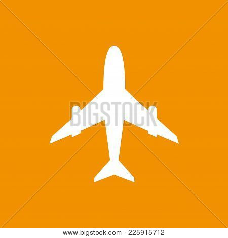 Icon Of White Airplane On Orange Background Vector Illustration. Airport Icon, Airplane Shape. Flat