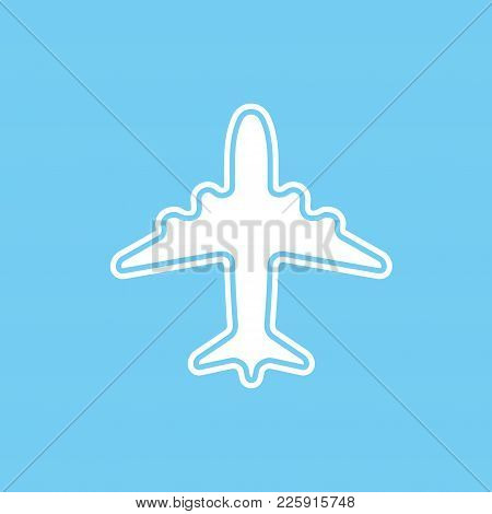 Icon Of White Airplane On Blue Background Vector Illustration. Airport Icon, Airplane Shape. Flat Wh
