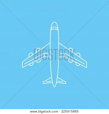Icon Of Transparent Airplane, Plane On Blue Background Vector Illustration. Airport Icon, Airplane S