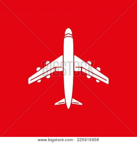 Icon Of Airplane, Plane On Red Background Vector Illustration. Airport Icon, Airplane Shape. Flat Ai