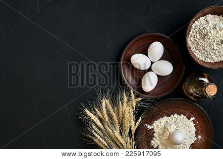 Preparation Cooking Baking Kitchen Table Brown Dishes Ware Fresh Grocery Different Ingredients: Eggs