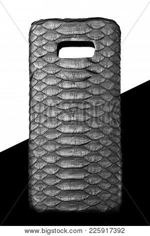 Exclusive Black Snake Python Leather Case For Smartphone.luxury Case. On Black And White Background