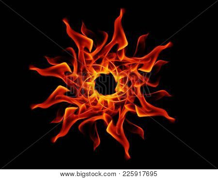Fire Flames On Black Background.abstract Fire.abstract Background .isolated On Black