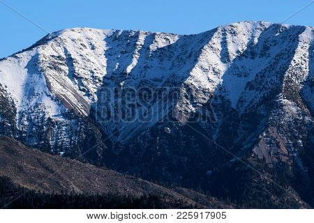 Rugged Mountain Peak Covered In Snow Taken At The San Gabriel Mountains In Mt Baldy, Ca