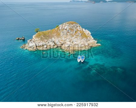 Aerial View From A Drone Of Beautiful Letter Island Close To Nyaung Oo Phee Island On Sunny Day In M